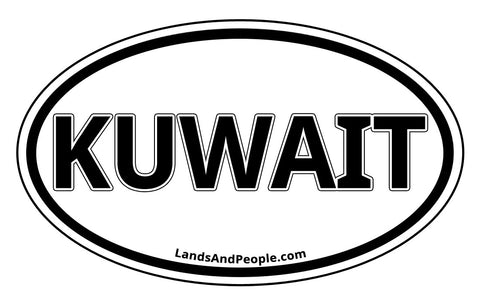 Kuwait Car Sticker Oval Black and White