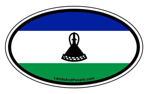 Lesotho Flag Sticker Oval
