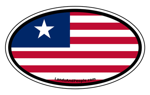 Liberia Flag Car Sticker Decal Oval