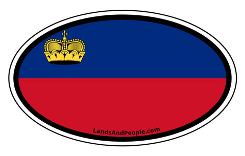 Liechtenstein Flag Car Sticker Decal Oval