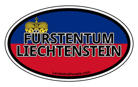 Fürstentum Liechtenstein in German Flag Sticker Oval