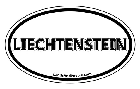 Liechtenstein Car Sticker Decal Oval Black and White