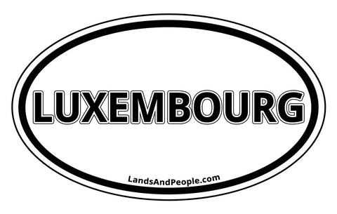 Luxembourg Sticker Oval Black and White
