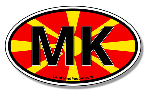 MK Macedonia Flag Car Sticker Decal Oval