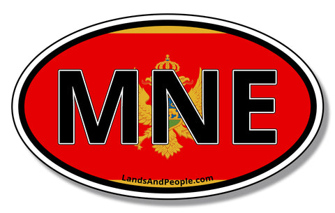 MNE Montenegro Flag Car Sticker Decal Oval