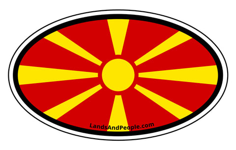 Macedonia Flag Car Sticker Decal Oval
