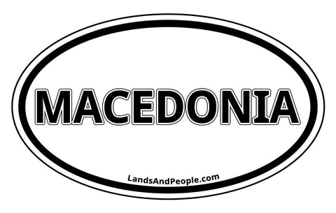 Macedonia Car Sticker Decal Oval Black and White