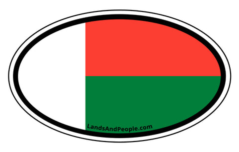 Madagascar Flag Sticker Oval