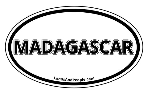 Madagascar Sticker Oval Black and White