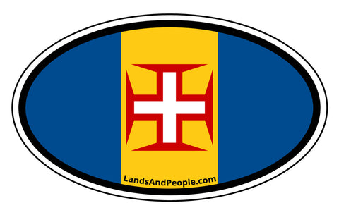 Madeira Flag Car Sticker Decal Oval