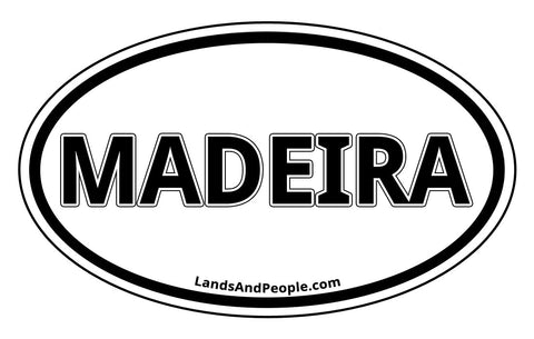 Madeira Car Sticker Decal Oval Black and White