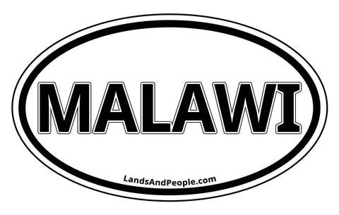 Malawi Sticker Oval Black and White