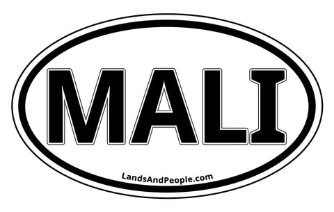 Mali Sticker Oval Black and White