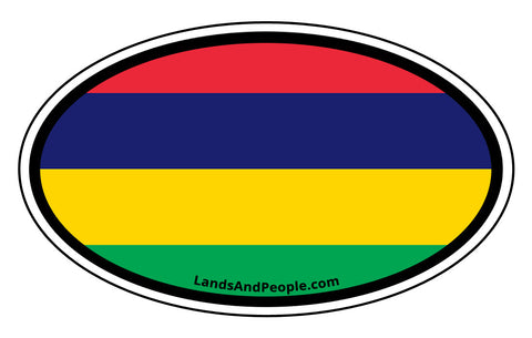 Mauritius Flag Car Bumper Sticker Decal Oval