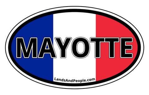 Mayotte, French Department in Indian Ocean, Car Bumper Sticker Oval