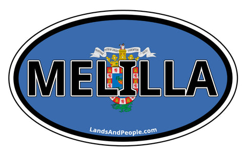 Melilla Flag Sticker Oval