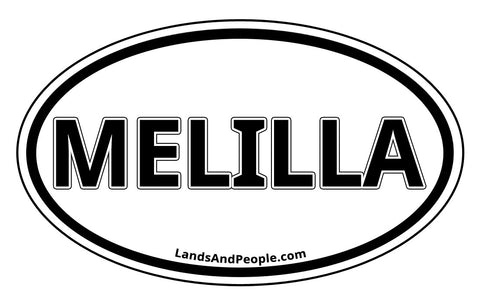 Melilla Sticker Oval Black and White