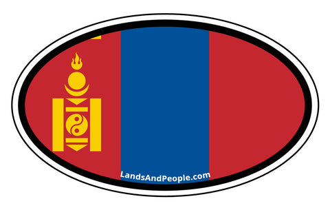 Mongolia Flag Car Sticker Oval
