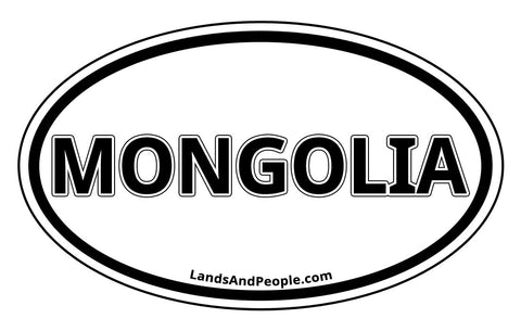 Mongolia Car Sticker Oval Black and White