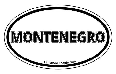 Montenegro Sticker Decal Oval Black and White