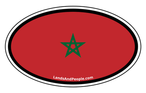 Morocco Flag Sticker Oval