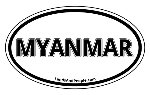 Myanmar Sticker Oval Black and White