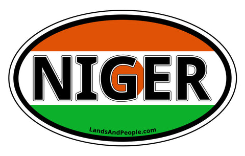 Niger Flag Car Sticker Decal Oval