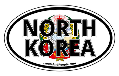 North Korea Emblem Coat of Arms Car Sticker Oval