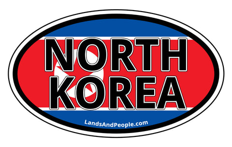 North Korea Flag Car Sticker Oval