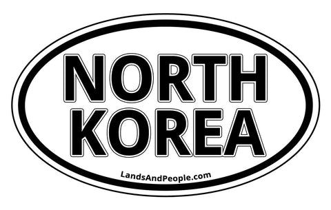 North Korea Car Sticker Oval Black and White