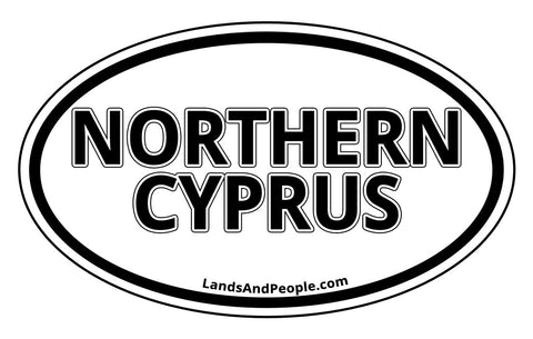 Northern Cyprus Sticker Oval Black and White