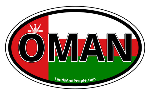Oman Flag Sticker Decal Oval