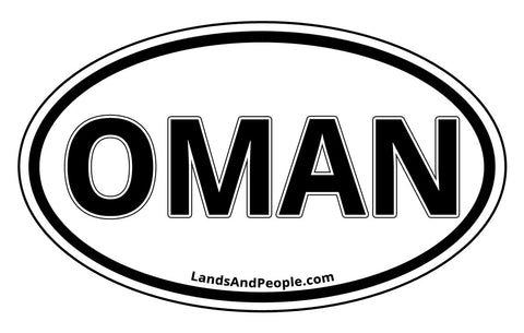 Oman Sticker Decal Oval Black and White