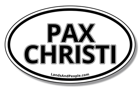 "Pax Christi, ""Peace of Christ"" in Latin,  Sticker Decal Oval"