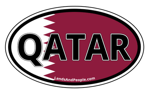 Qatar Flag Sticker Oval