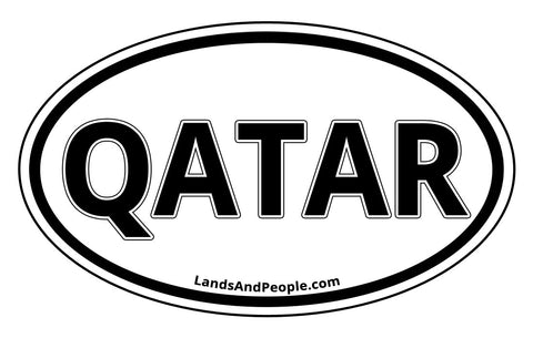 Qatar Sticker Oval Black and White