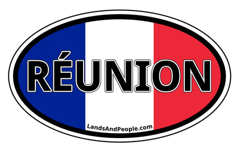 Réunion Flag Sticker Decal Oval