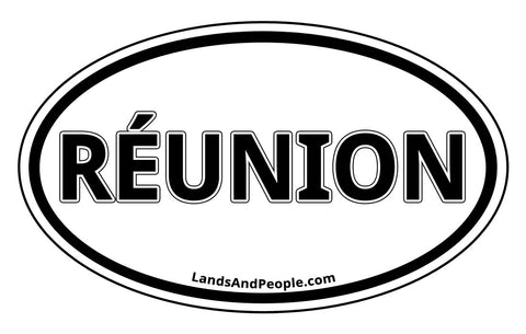 Réunion Sticker Decal Oval Black and White