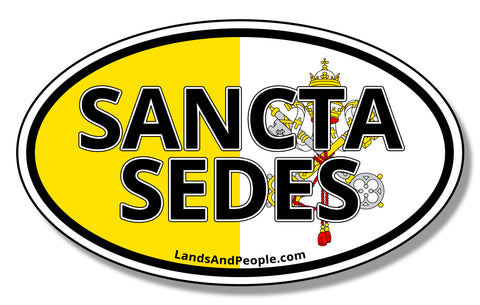 "Sancta Sedes, ""The Holy See"" in Latin, and Vatican Flag Sticker Oval"
