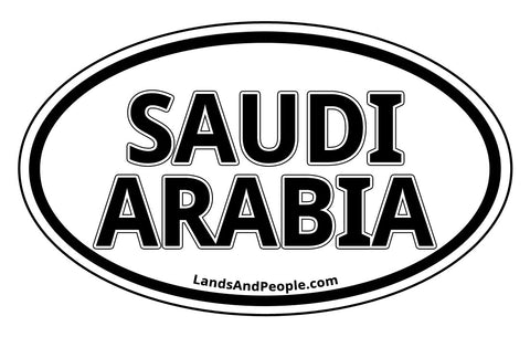 Saudi Arabia Sticker Oval Black and White
