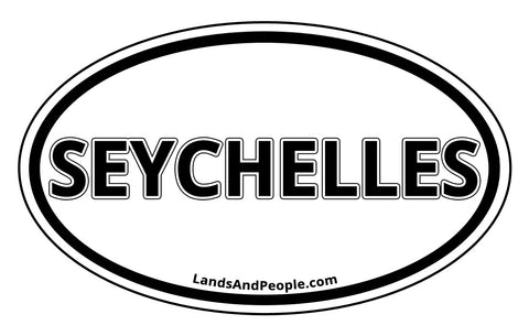 Seychelles Car Sticker Oval Black and White
