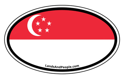Singapore Flag Sticker Decal Oval