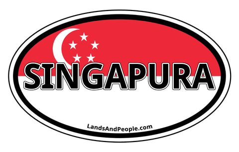 Singapura Singapore Flag Sticker Decal Oval
