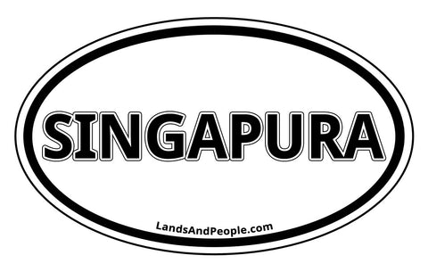 Singapura Singapore Sticker Decal Oval Black and White