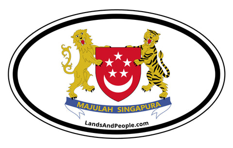 Singapore Coat of Arms Sticker Decal Oval