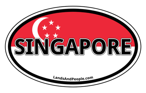Singapore Flag Car Sticker Decal Oval