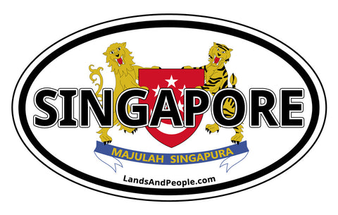 Singapore Coat of Arms Car Sticker Decal Oval