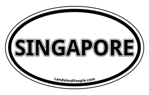 Singapore Car Sticker Decal Oval Black and White