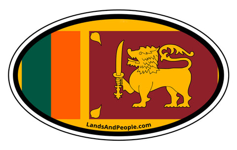 Sri Lanka Flag Sticker Oval