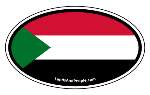 Sudan Flag Car Sticker Decal Oval